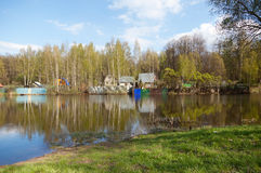 Russian rural landscape, home on the water Royalty Free Stock Photo