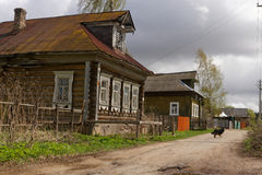 Russian rural street. Russian rural street with old buildings Royalty Free Stock Photography
