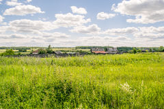 Russian rural village landscape Royalty Free Stock Image