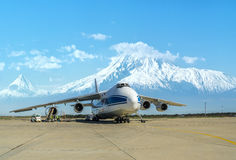 Russian Ruslan cargo plane at the airport of Yerevan Armenia, March 2015 Royalty Free Stock Photography