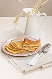 Russian rye and wheat pancakes Royalty Free Stock Images