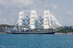 Russian sailboat entering to Sevastopol bay Royalty Free Stock Photos