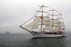 Russian sailing ship Nadezhda with outstretched sails. stock image