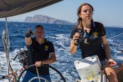 Russian sailors participate in sailing regatta 16th Ellada Autumn 2016 among Greek island group. ERMIONI, GREECE - SEP 28, 2016: Russian sailors participate in Stock Photos