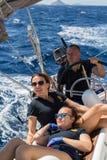 Russian sailors participate in sailing regatta 16th Ellada. ERMIONI, GREECE - SEP 28, 2016: Russian sailors participate in sailing regatta 16th Ellada Autumn Royalty Free Stock Photo
