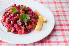 Russian salad of beetroot. Stock Photo