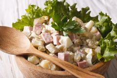 Russian salad close up in a wooden bowl. horizontal Stock Images