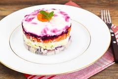 Russian Salad Coat of Beets, Carrots, Potatoes and Herring Royalty Free Stock Photos