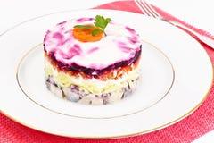 Russian Salad Coat of Beets, Carrots, Potatoes and Herring Stock Photos