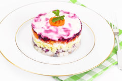 Russian Salad Coat of Beets, Carrots, Potatoes and Herring Stock Photography
