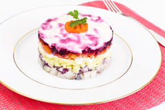 Russian Salad Coat of Beets, Carrots, Potatoes and Herring Royalty Free Stock Photography