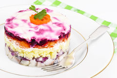 Russian Salad Coat of Beets, Carrots, Potatoes and Herring Stock Image