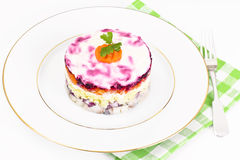Russian Salad Coat of Beets, Carrots, Potatoes and Herring Stock Images