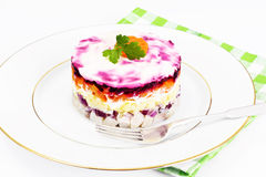 Russian Salad Coat of Beets, Carrots, Potatoes and Herring Stock Photo