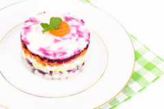Russian Salad Coat of Beets, Carrots, Potatoes and Herring Royalty Free Stock Image
