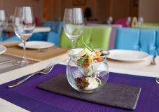 Russian salad in creative serving Royalty Free Stock Photo