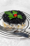 Russian salad with fish salmon and caviar stock image