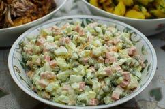 Russian Salad Olivie. Christmas. Tradition. New Year. Macro stock image