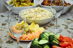 Russian Salad Olivie, fresh fruits and vegetables. Tradition royalty free stock photo
