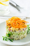 Russian salad Olivier with carrot on the top Royalty Free Stock Photography