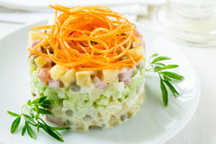 Russian salad Olivier with carrot on the top Royalty Free Stock Photos