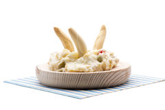 Russian salad and peaks Stock Images
