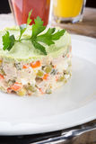 Russian salad on a plate Stock Photography