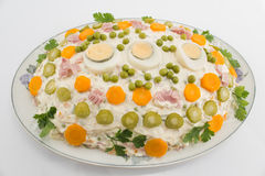 Russian salad on porcelain plate Royalty Free Stock Images