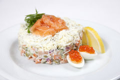 Russian salad with salmon Royalty Free Stock Photography