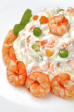 Russian salad with shrimps Stock Photos