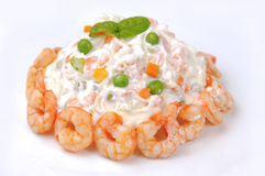 Russian salad with shrimps Royalty Free Stock Image