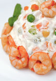 Russian salad with shrimps Royalty Free Stock Photos