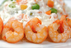 Russian salad with shrimps Stock Photography