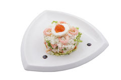 Russian salad with shrimps Royalty Free Stock Images