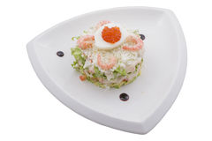 Russian salad with shrimps Stock Photo