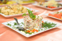 Russian salad on white square plate. Russian salad on square plate Royalty Free Stock Image