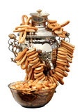 Russian samovar with bagels on the white background, isolate Stock Photos