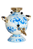 Russian samovar painted under Gzhel Stock Photos
