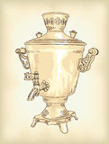 Russian samovar. Vintage illustration. Royalty Free Stock Image