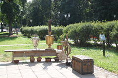 Russian samovars in Uglich street Stock Images