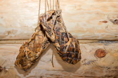Russian sandals. Woven from the bark of the wooden shoe. Russian sandals Royalty Free Stock Image