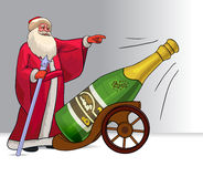 Russian Santa Claus Ded Moroz and champagne bottle. Ready to shoot. Bottle of champagne on a support stylized under cannon gun. Vector cartoon illustration Stock Photo