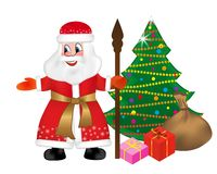 Russian Santa Claus or Father Frost also known as Ded Moroz with staff and keeps a bag full of gifts to Christmas tree. Happy New. Year greeting card. Vector royalty free illustration