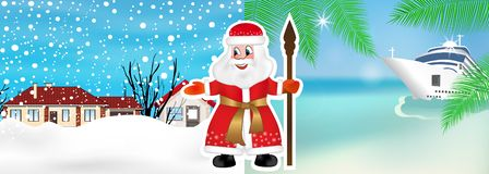 Russian Santa Claus or Father Frost invites from winter to summer to celebrate Christmas on the beach. New Year cruis. Vector. Illustration stock illustration