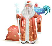 Russian Santa Claus holding blue rooster symbol of 2017 Stock Photos