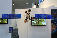 The russian satellite  at CEBIT computer expo. HANNOVER, GERMANY - MARCH 10: the russian satellite on March 10, 2012 at CEBIT computer expo, Hannover, Germany Royalty Free Stock Image