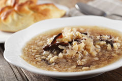 Russian sauerkraut soup. With mushrooms and pearl barley Stock Photography