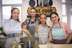 Russian School Girls Team On Cooking Party Event Stock Photos