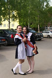 Russian Schoolgirls in Uniform After Graduation Stock Image