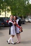 Russian Schoolgirls in Uniform After Graduation Stock Image